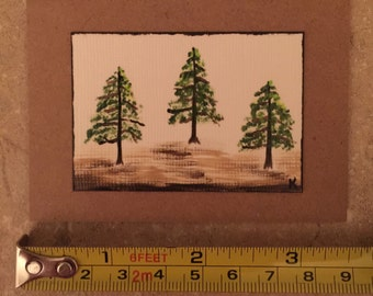 Hand painted notecard with trees