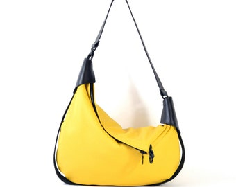 Rosaire - Handmade Black & Yellow Leather Twin Size Hobo Shoulder Bag.