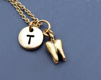 Tooth necklace, 3D tooth charm, Tooth fairy charm necklace, Molar charm, Dentist, gold tooth, initial necklace, personalized, monogram