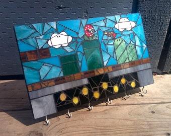 Mario Level Glass Mosaic Key and Leash Holder