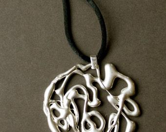 """Sterling silver """"scribble"""" pendant, sterling pendant, silver pendant, modern pendant, handmade pendant, women's pendants, women's jewelry"""