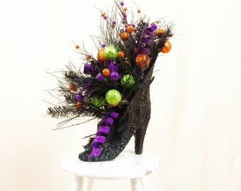 Halloween Decorations, Black Witch Boot Centerpiece, Witch Boot Arrangement, Halloween Decoration, Whimsical Centerpiece, Halloween Witch