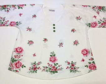 1x/2x Vintage Repurposed Tablecloth Tunic - Roses, Butterflies