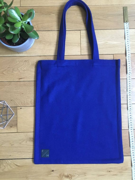 bright azure blue felted wool Tote Bag with zip compartment