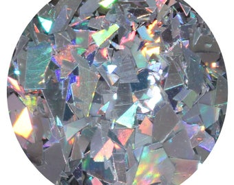 Broken CDs | Loose silver holographic glitter mix for body, face, hair, crafts, scrapbooking, | Jar is 15 mL