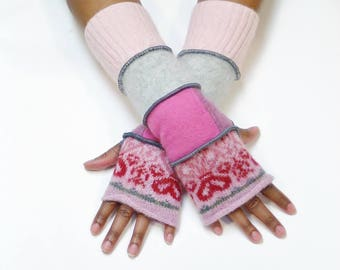 Fingerless Gloves, Armwarmers, (Dusty Pink Heart Pattern/Patched Pinks/Light Gray/Light Pink)Brenda Abdullah