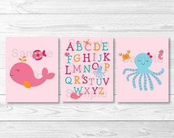 Pink Under the Sea Nursery Wall Art /  Nautical Nursery / Under The Sea Alphabet / PRINTABLE Instant Download A192