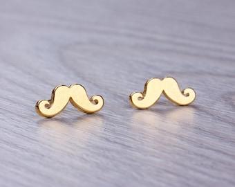Mustache earrings, Rose gold stud earrings, mustache party, stainless steel post earrings, stud earrings,  tiny earrings | Moustache