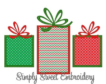 Three Christmas Presents Machine Embroidery Applique Design
