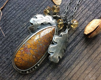 The big oak tree - sterling silver and Turkish plume agate