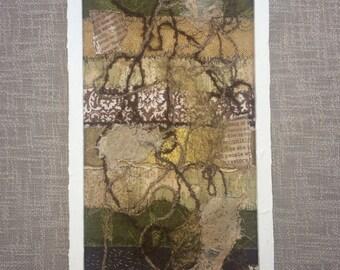 Mixed media and fabric abstract wall art