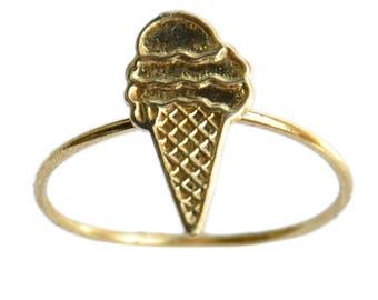 ICE CREAM CONE Handmade Brass Gold Ring