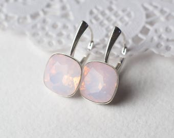 Silver earrings with Swarovski Crystal Rose Water Opal