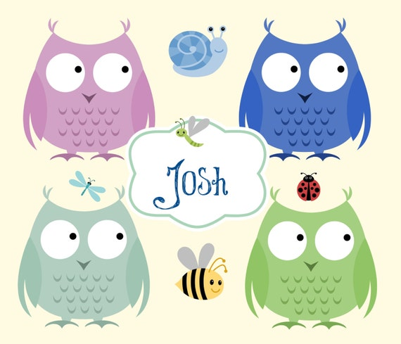 Personalized Organic Cotton Name Blanket Owl Friends 2  -Baby, Toddler Blanket, Nursery Decor, Stroller Blanket, New Baby Shower Gift