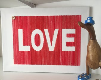 """Hand Embroided 'LOVE' word art canvass, 11.8""""x16"""" approx"""