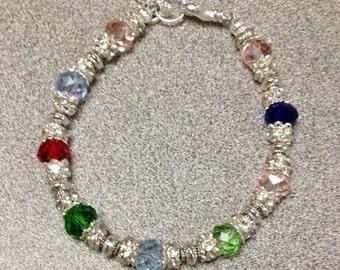 Mothers Bracelet, Mothers Birthstone  Bracelet, Birthstone Jewelry, Grandmothers Birthstone Bracelet, Crystal Birthstone Bracelet