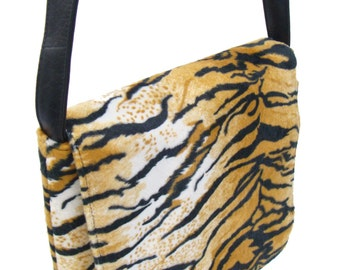 US Handmade Animal Print Zebra Pattern Messenger Bag Pattern Shoulder Bag Purse, Black and Biege Color,New