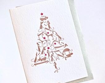 Carte de Noël avec des chiens, carte pour les amoureux de chien, lévrier, cadeau pour animaux de compagnie, teckel, carte de Carlin, carte de Noël de typographie, chiens de Noël mignon,
