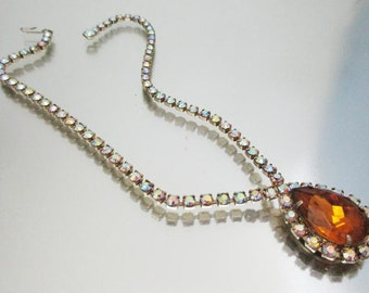 Rhinestone Teardrop Necklace Amber & Aurora Borealis r