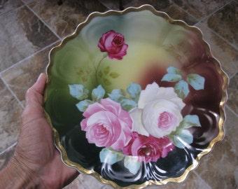 19th C. Royal Vienna Peinture a La main ROSES PLATE by Erdmann Schlegelmilch and whiteware by Zeh Scherzer