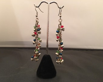 Silver and multi-color beaded dangle earrings, approximately 2 inches in length