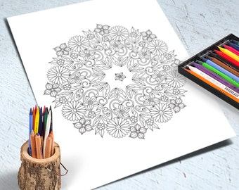 Flower Adult Coloring Page, Printable Floral Round Ornament, Zen Doodle Art, Mandala