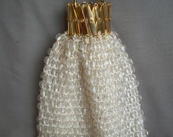 Beautiful Vintage Shimmery White Beaded Reticule Purse With Goldtone Accordian  Top And Chain. Wedding/ Evening Bag.