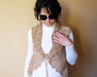 SAVE 25% DISCOUNT Knit Vest_Womens Crochet Spring Vest_Crochet Lace Elegant Cardigan_Women Bolero
