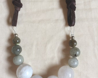 Magestic Moonstone and Labradorite necklace