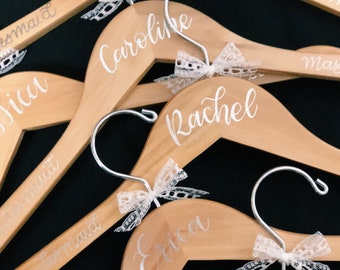 Hand Lettered Bridal Hangers // Wedding Dress Hangers // Bridal Party Hangers // Bridesmaid Gift