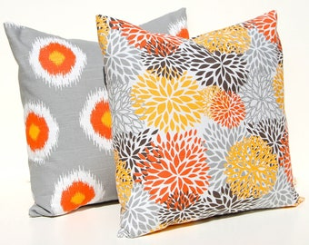 Pillow Decorative Throw Pillow Covers Accent Pillows Cushion Covers 18 x 18 Inches Orange Gray Brown Premier Prints Floral Ikat Dots