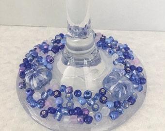 Blue beaded wine glass, blue wine glass, beaded wine glass, wine glass, embellished glass, decorated glass