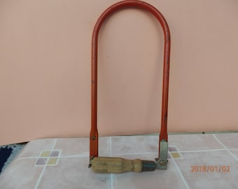 Vintage Saw Frame Red Handle Deep With Saw Blades Bench Tool Sawing, Sawing Wood And Plywood, Metal Working Jewelry Tool Crocodile