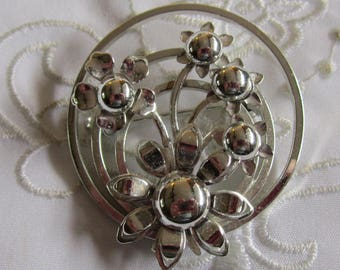 Vintage Silver Tone Triple Circle and Flowered Brooch