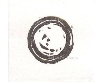 Enso III - November 2013, linocut print on Hosho rice paper, small art work