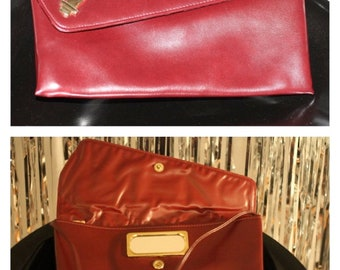 Vintage Unique  Red Leather Clutch Bag with Straps & Mirror in the front opening, Truly vintage
