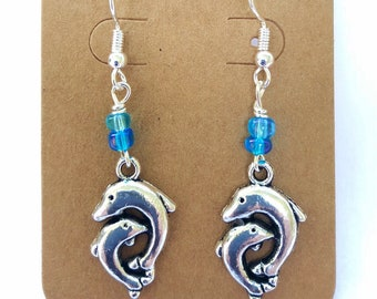 Mama and Baby Dolphin Earrings