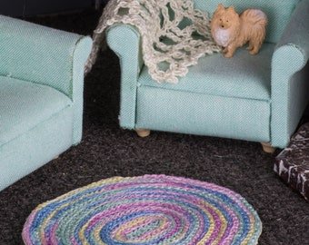 Large Oval Braided Rug (Pastel Variegated) -- Dollhouse Miniature 1:12 Scale