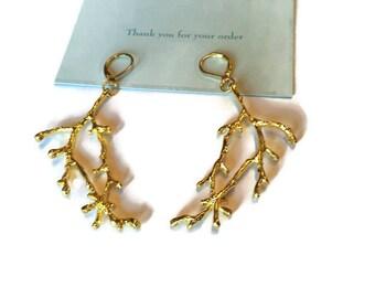 Gold Branch Earrings  Gold Twig Earrings Tree Leaf Earring  Branch Jewelry Woodland Wedding Nature Earrings  Bridal Earrings lever back