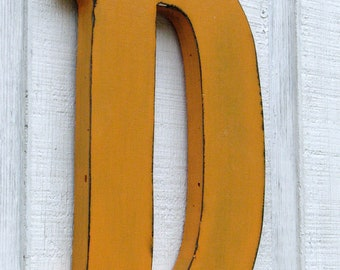 """Christmas Personalized Rustic Wooden Letter D Distressed Tangerine 12"""" tall Wood Name Letters, Custom Wedding Gift"""