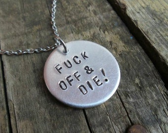 Cheeky jewelry etsy necklace silver chain insulting personalised gift hand stamped pendants cute cheeky mozeypictures