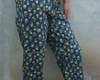 vintage High Waisted Pants floral pants Blue and flower yellow, hipster pants  1960s/1970s for women boho vintage pants spring Bohemian
