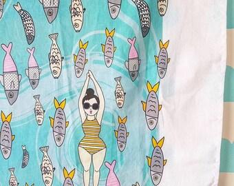 Tea towel, Kitchen decor, kitchen towels, Hand made, Funny Tea Towel, Kitchen art, Fish towel, Dishcloths, Kitchen Towel