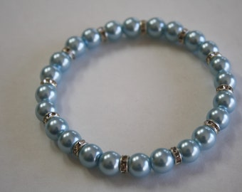 Light Blue Rhinestone Pearl Bracelet, Pearl Bracelet, Light Blue Bracelet, Pearl Jewellery