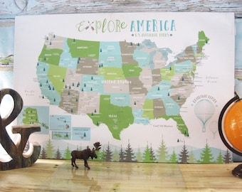 Large National Parks map for kids, USA NP, UNFRAMED, Great Outdoors, Poster, 30X45 Inches, Nursery Map, Baby Home School Map