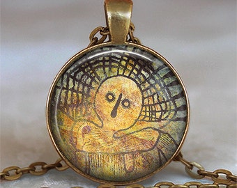 Shaman Spirit necklace, Shaman Spirit pendant spiritual talisman ancient cave art spirit guide spiritual jewelry key chain key ring fob
