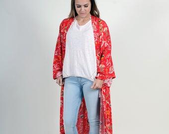 Kimono, Long Kimono Cardigan, Kimono Jacket, Floral Kimono, Boho Kimono, Boho Clothing, Gypsy Clothing, Festival Clothing, Kimono Duster