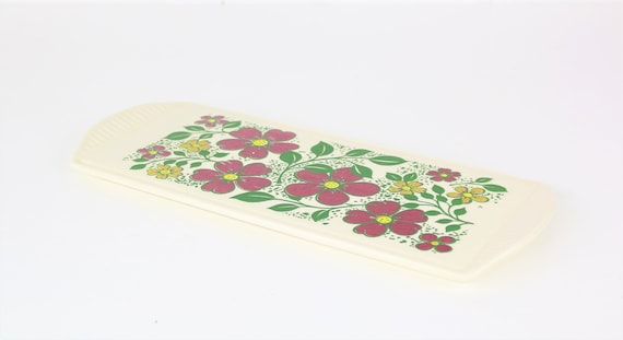 Hand painted pottery vintage platter with floral pattern German pottery art Antique platter floral print handpainted