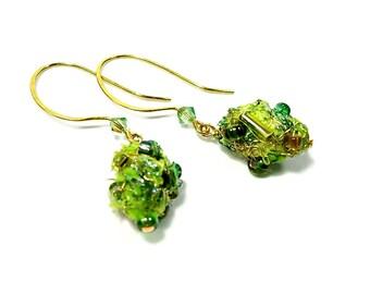 Lime Green Drop Earrings, Lime Green Earrings,  Dangle Bead Earrings,  Fiber Art Jewelry, Nature Lover Gift, Moss Green, Forest Lover