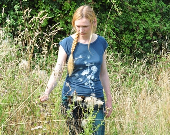 Organic & Fairtrade Woman T-shirt - Wild Flower screenprinted on Denim Blue Tee